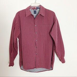 GAP flannel lined plaid button down shirt